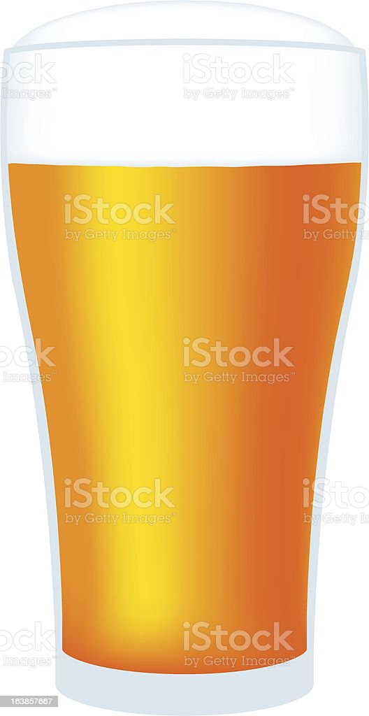 large glass of beer vector art illustration