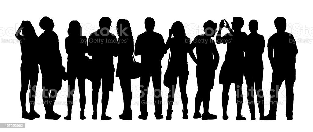 large group of people silhouettes set 5 vector art illustration