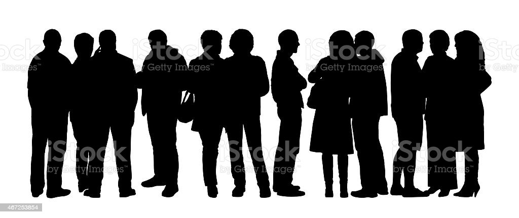 large group of people silhouettes set 7 vector art illustration