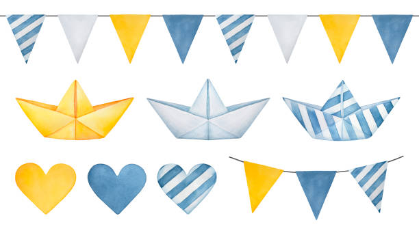 Large illustration collection of pennant banner garland, cute paper boats, various hearts and triangle flags. Hand drawn water color graphic drawing on white background, clipart for design decoration. Hand drawn watercolor illustration. bedroom clipart stock illustrations