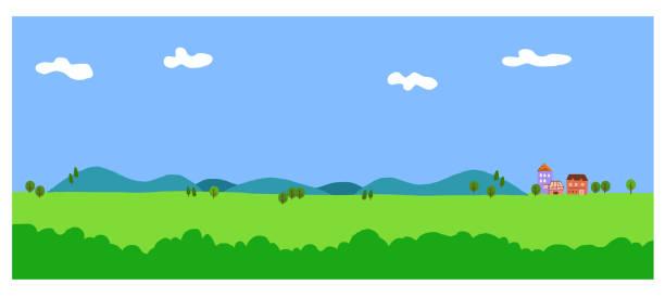 illustrazioni stock, clip art, cartoni animati e icone di tendenza di large meadow and blue sky - forest bathing
