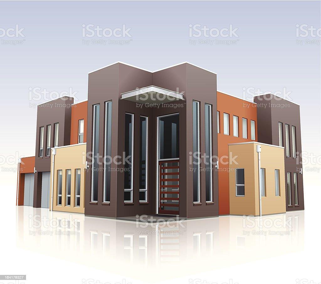 Large Modern Home vector art illustration