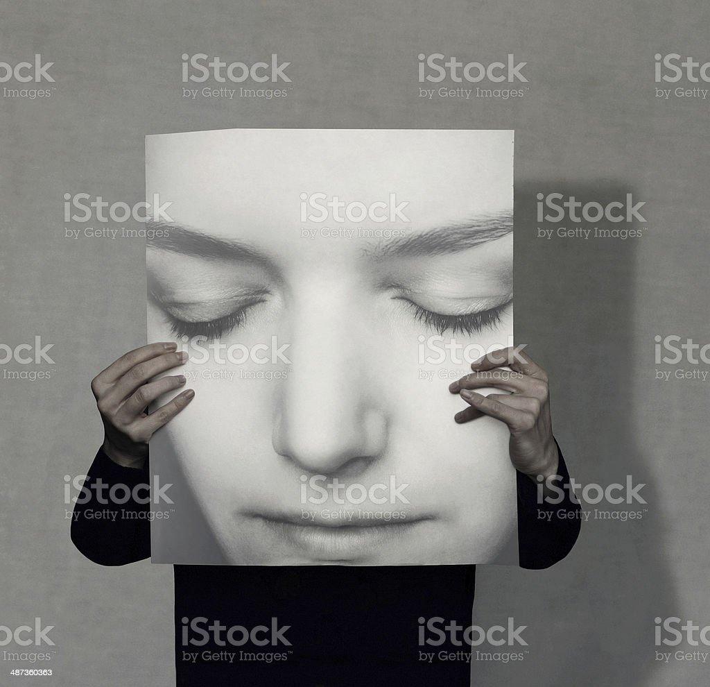 Large portrait vector art illustration