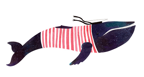 Large watercolor dark blue whale in a red striped T-shirt and peaked cap on a white background. The color of the night sky with stars.