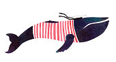 istock Large watercolor dark blue whale in a red striped T-shirt and peaked cap on a white background. The color of the night sky with stars. 1288299474
