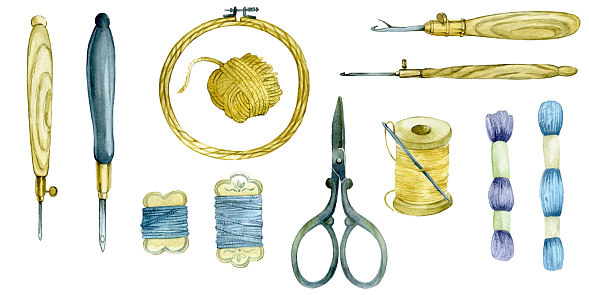 large watercolor set of tools for embroidery. hoops, threads, scissors, yarn, punch needle. tools for carpet embroidery and embroidery with beads, sequins. isolated on white background. vintage