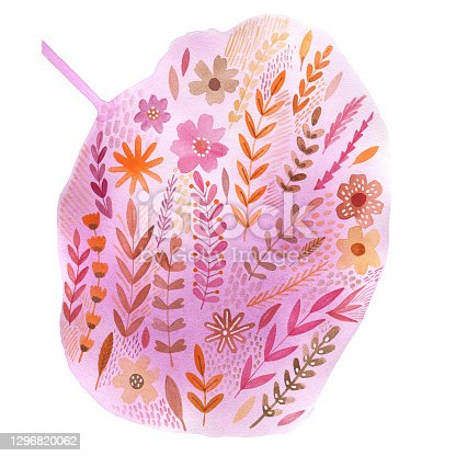 istock A large watercolor spot filled with plants and flowers. The isolated object on a white background. 1296820062