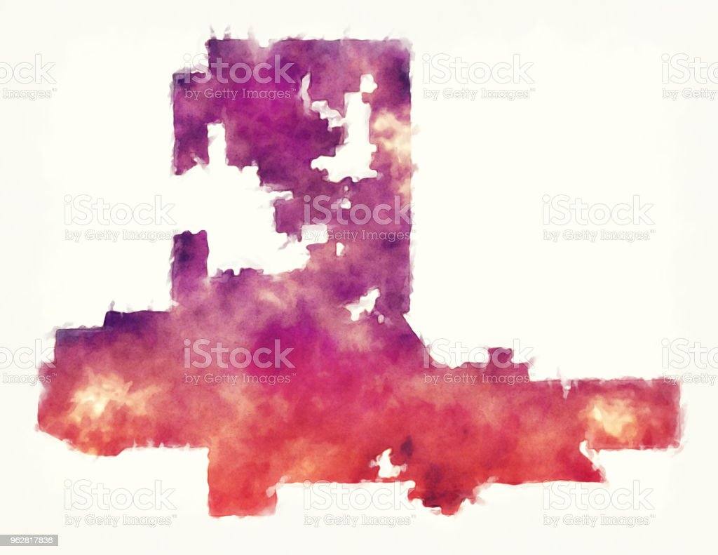 Las Vegas Nevada city watercolor map in front of a white background vector art illustration