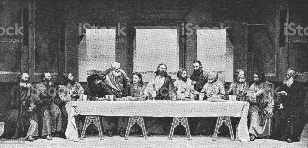 Last Supper at Passion Play in Oberammergau, Germany - 19th Century vector art illustration
