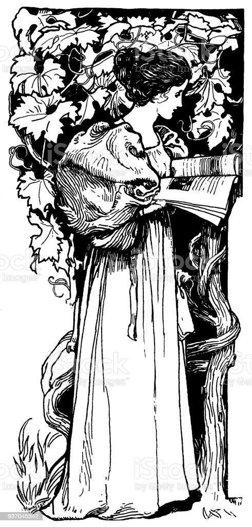 Late 19th Century Woman Reading Beside A Grape Vine Stock Vector Art