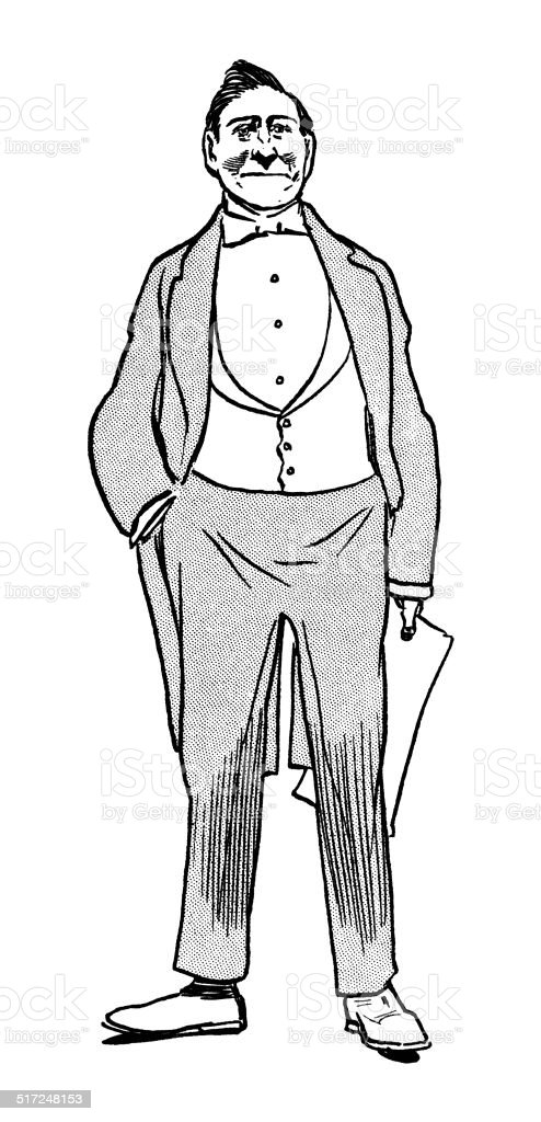 Late Victorian man holding a paper vector art illustration