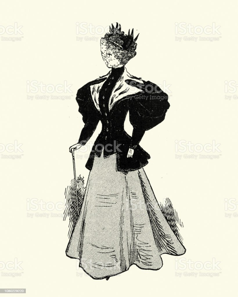 c85f2ea93779d2 Late Victorian womens fashions, outdoor wear, Coat, Hat and Skirt royalty- free