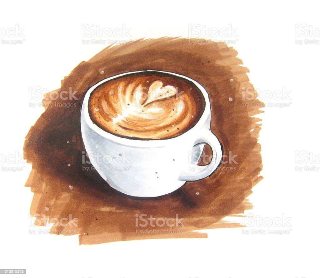 Latte art vintage sketch vector art illustration