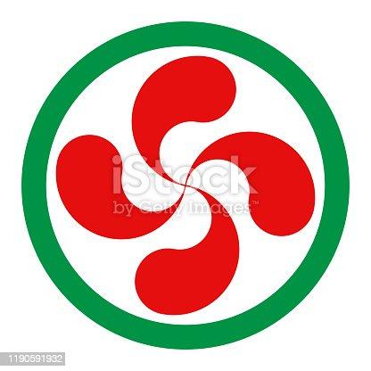 Lauburu or red basque cross symbol