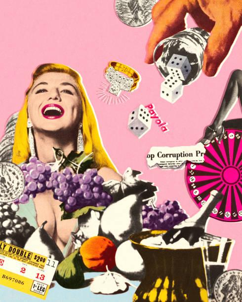 Laughing Woman in Las Vegas Laughing Woman in Las Vegas modern art stock illustrations