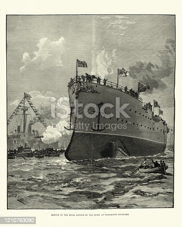 Vintage engraving of Launch of HMS Royal Arthur (1891) a first class Royal navy cruiser of the Edgar class at Portsmouth dockyard.