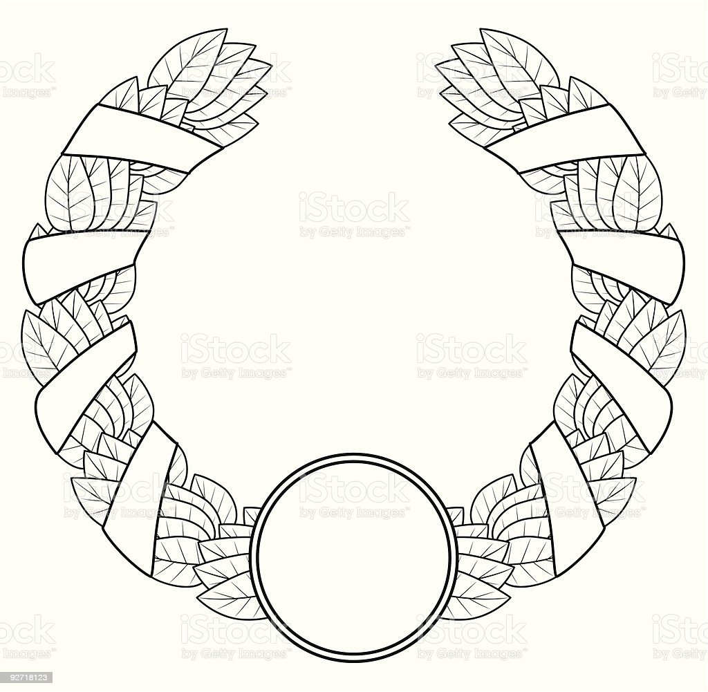 Laurel wreath of the winner. Black a white contour. royalty-free laurel wreath of the winner black a white contour stock vector art & more images of award