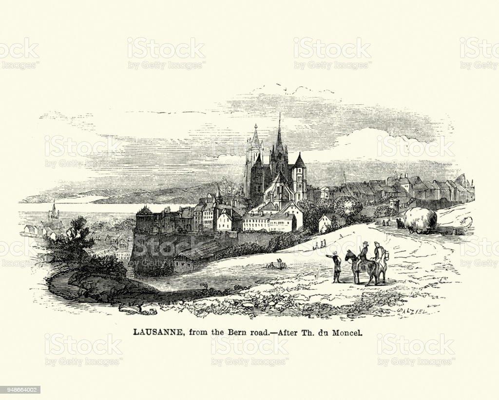 Lausanne, Switzerland, 19th Century vector art illustration