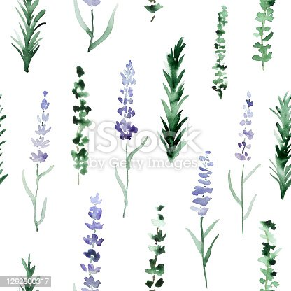 istock Lavender, rosemary and thyme pattern. Herbes de Provence watercolor print. 1262600317