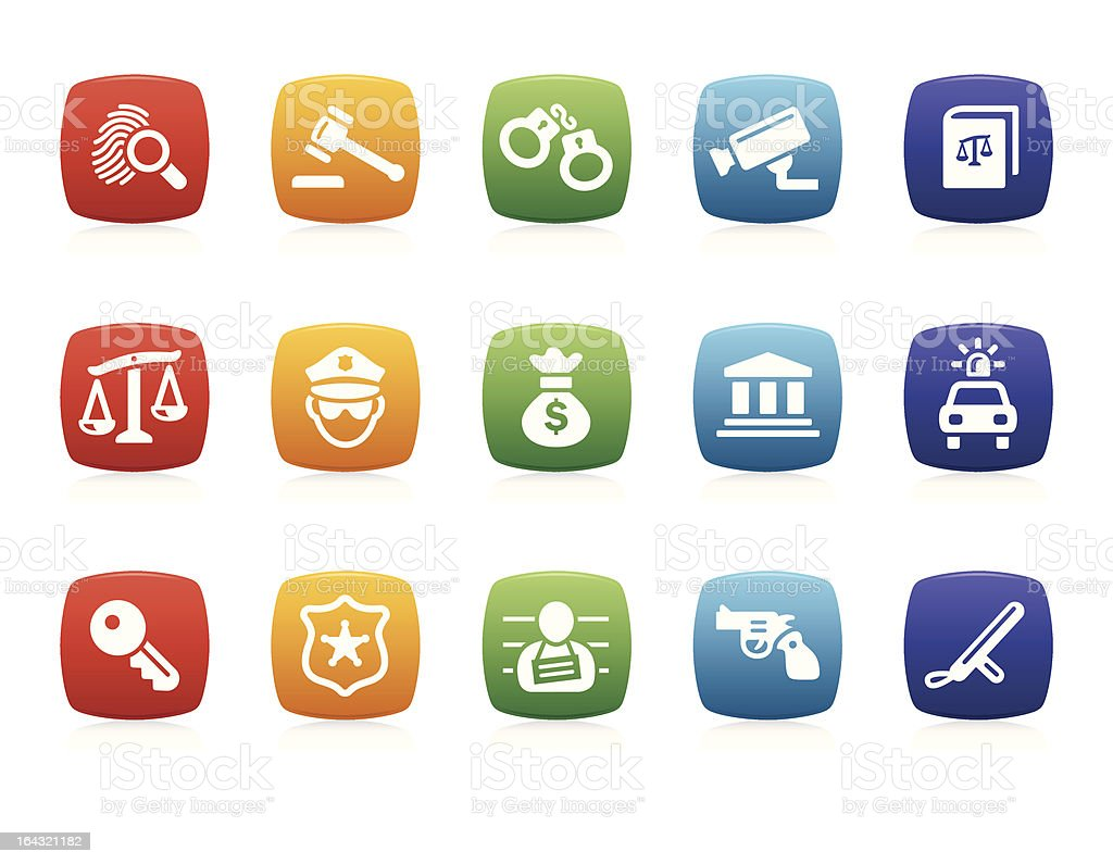 Law and Crime icons royalty-free stock vector art
