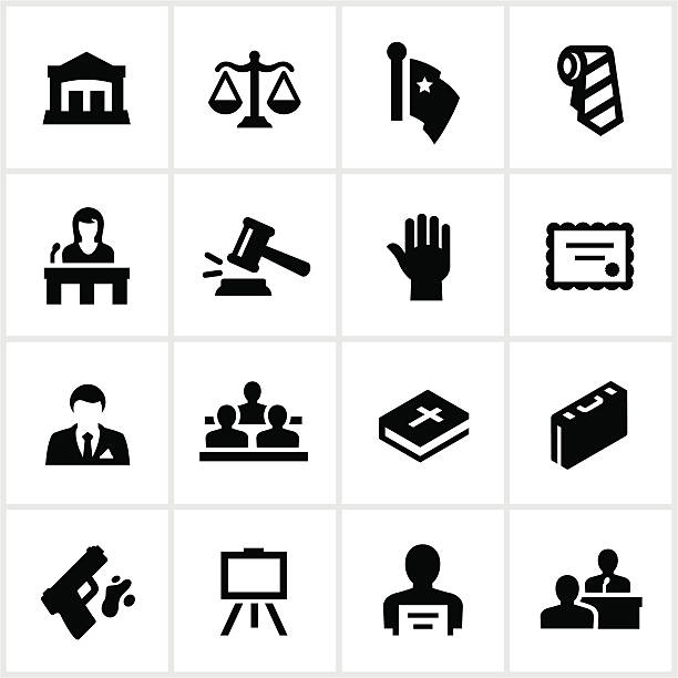 law and justice icons - lawyer stock illustrations, clip art, cartoons, & icons