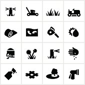 Lawn care related icons. All white strokes/shapes are cut from the icons and merged allowing the background to show through.