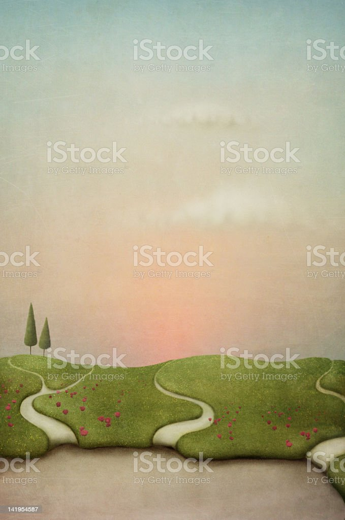 Lawn with footpath and flowers. royalty-free stock vector art
