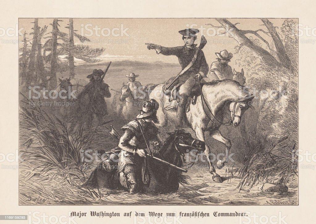 ローレンスワシントン植民地時代のバージニア木彫り1876年に出版 ...