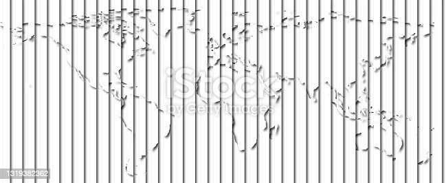 istock Layered world map with vertical stripes and shadows, black and white, elements of this image furnished by NASA. 1319382362