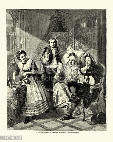 istock Le Malade Imaginaire, Victorian bed-chamber of the hypochondriac 1317161303