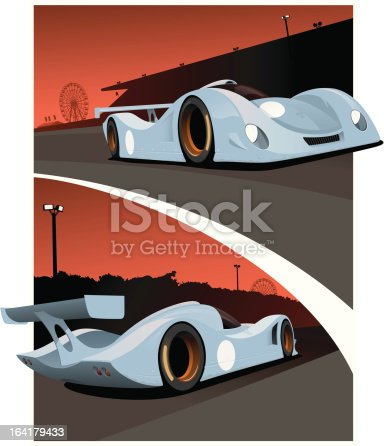 Two views of a prototype race car during te 24 hours of Le Mans. On a beautiful sunset background.