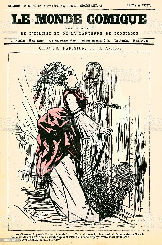 Humour French cartoon from Le Monde Comique 19th century vector art illustration