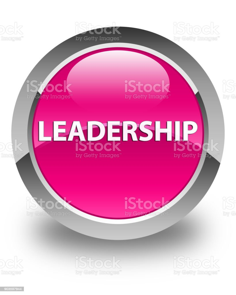 leadership glossy pink round button stock vector art