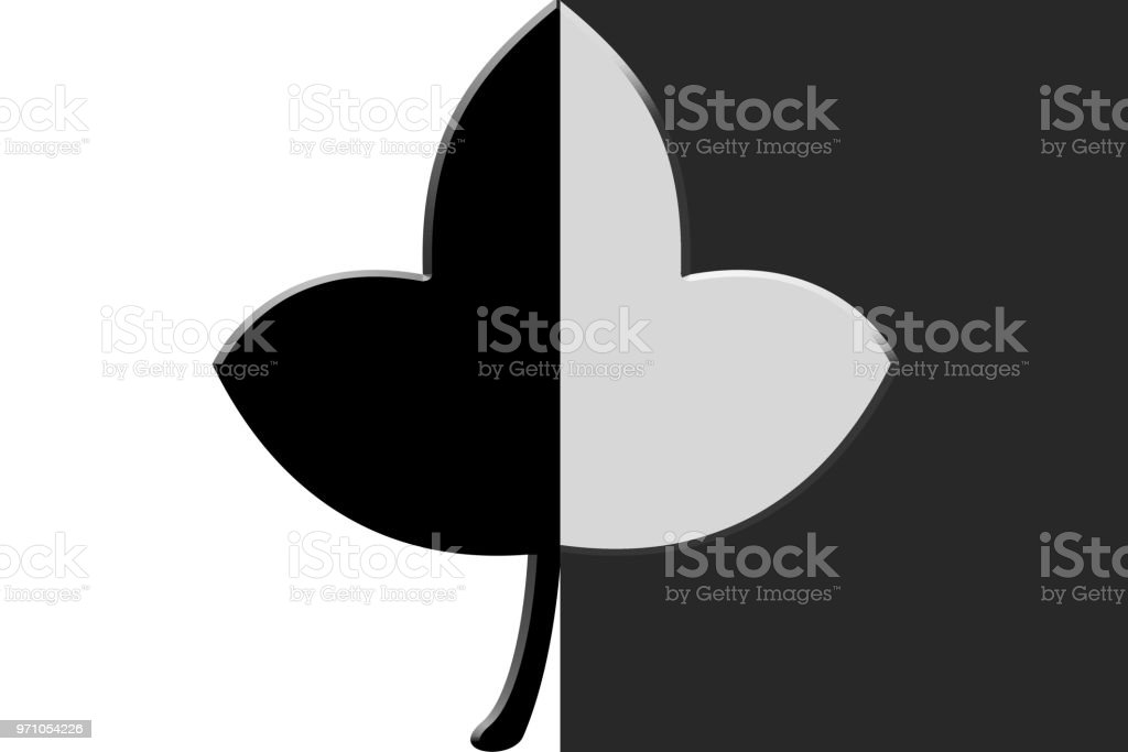 A Leaf With Half Black And Half White Color Stock Vector Art More