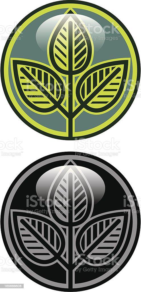 Leafy badge vector art illustration