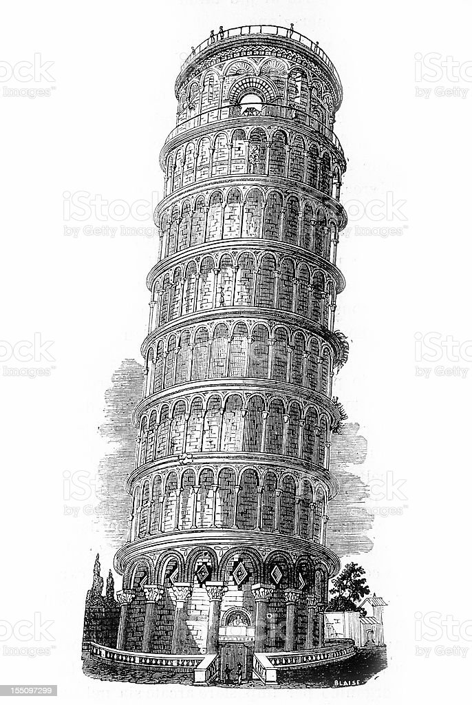 Leaning Tower of Pisa royalty-free leaning tower of pisa stock vector art & more images of 19th century style