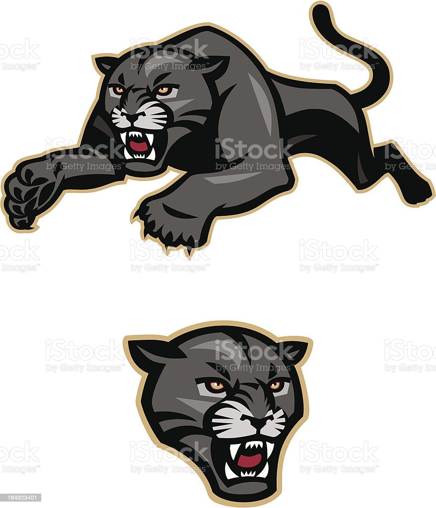 Black Panther Growling Royalty Free Stock Image: Leaping Black Panther Mascot Stock Illustration