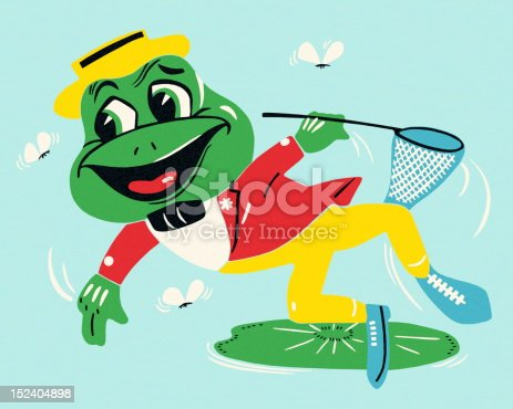Leaping Frog Catching Flies