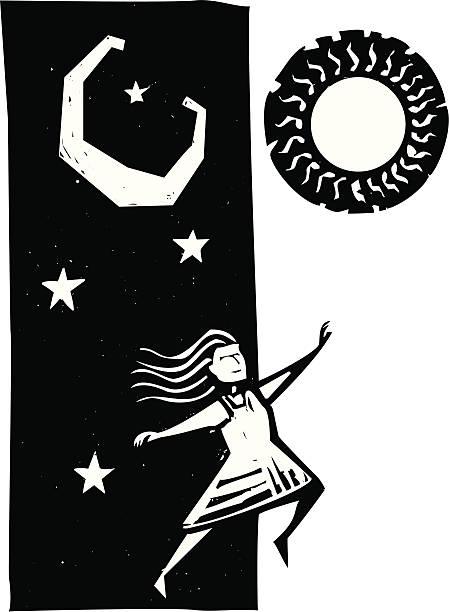 stockillustraties, clipart, cartoons en iconen met leaping into tomorrow - houtgravure