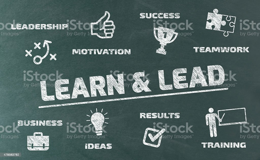 Learn and Lead Concept with Icons on Blackboard vector art illustration