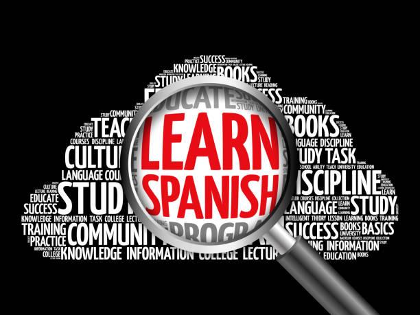 スペイン語単語雲を学ぶ - 語学の授業点のイラスト素材/クリップアート素材/マンガ素材/アイコン素材