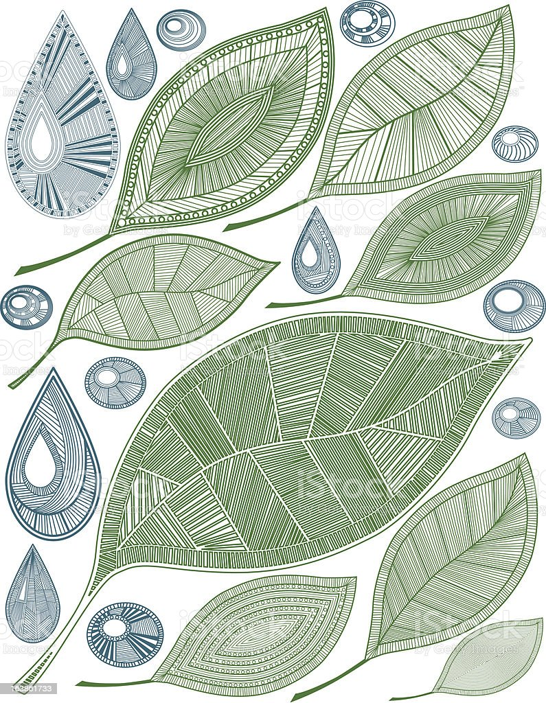 Leaves and drops royalty-free leaves and drops stock vector art & more images of abstract