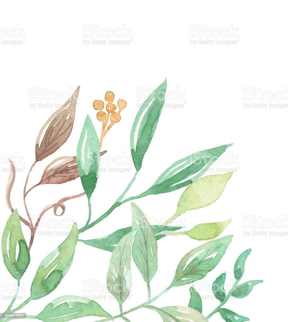 3395b2b14881 Leaves Corner Watercolor Leaf Frames Pretty Greenery Foliage royalty-free  leaves corner watercolor leaf frames