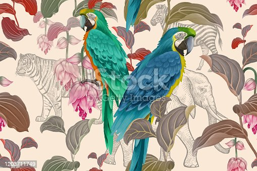 Tropical seamless floral pattern. Exotic birds parrots on branches of tree. Nature illustration. Vintage. Leaves, flowers, macaw and wild African animals. Wildlife. Paper, Hawaiian, textile, wallpaper