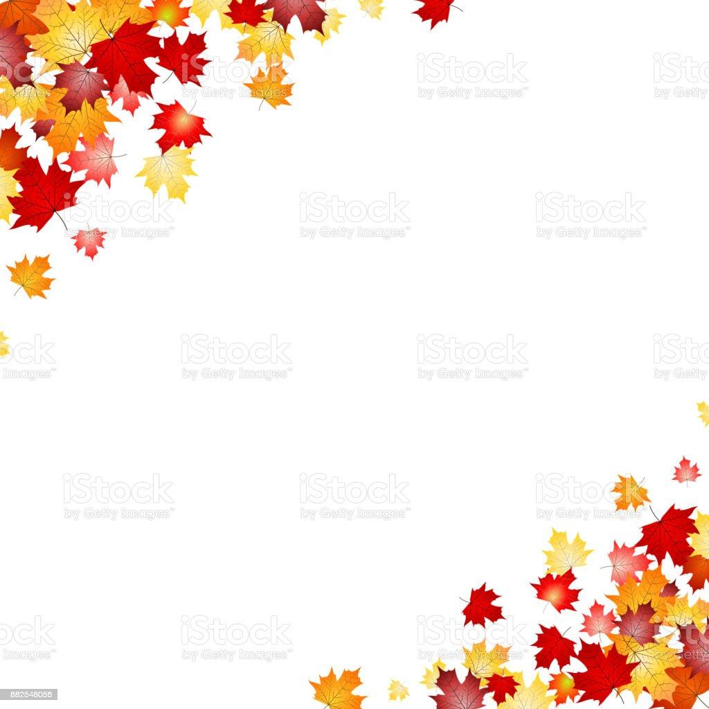 Leaves in corners - background vector art illustration