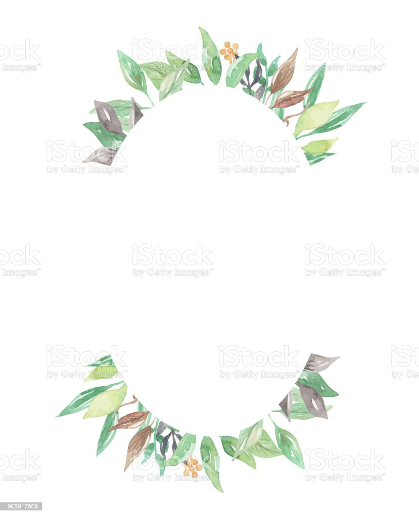 Leaves Oval Watercolor Leaf Frames Pretty Greenery Foliage Stock ...