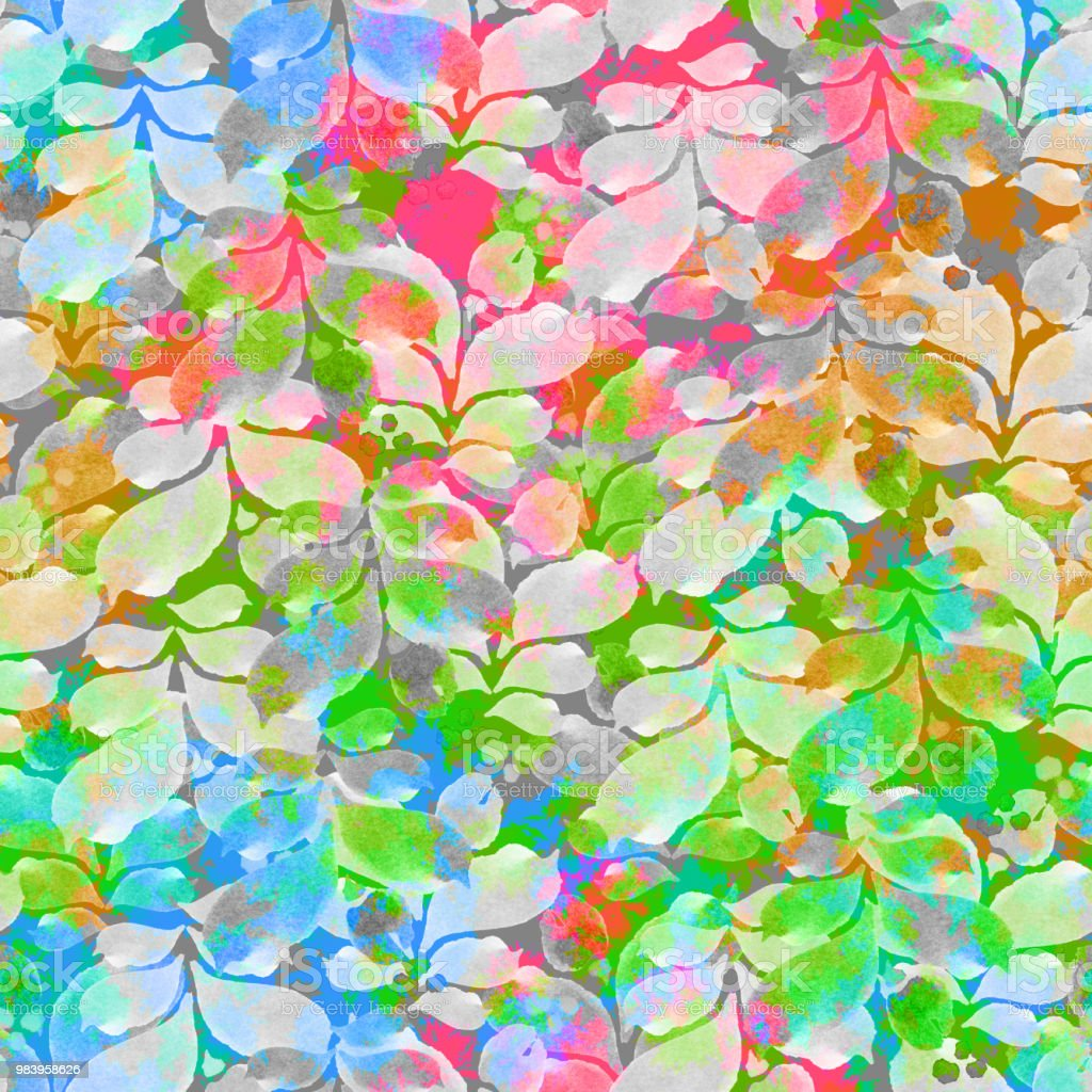 Leaves Pattern Backgrounds Colorful Endless Foliage Watercolor Paint Plant Nature Wallpaper Branched Stems Vivid