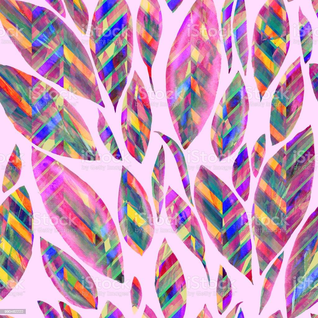 Ilustración de Hojas Patrón Primavera Rosa Color Fondo Zigzag Y ...