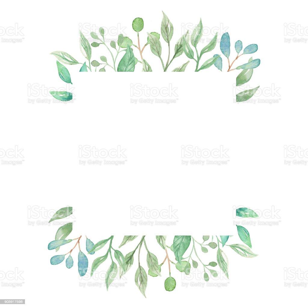 595df4a81b52 Leaves Square Watercolor Leaf Frames Pretty Greenery Foliage royalty-free  leaves square watercolor leaf frames