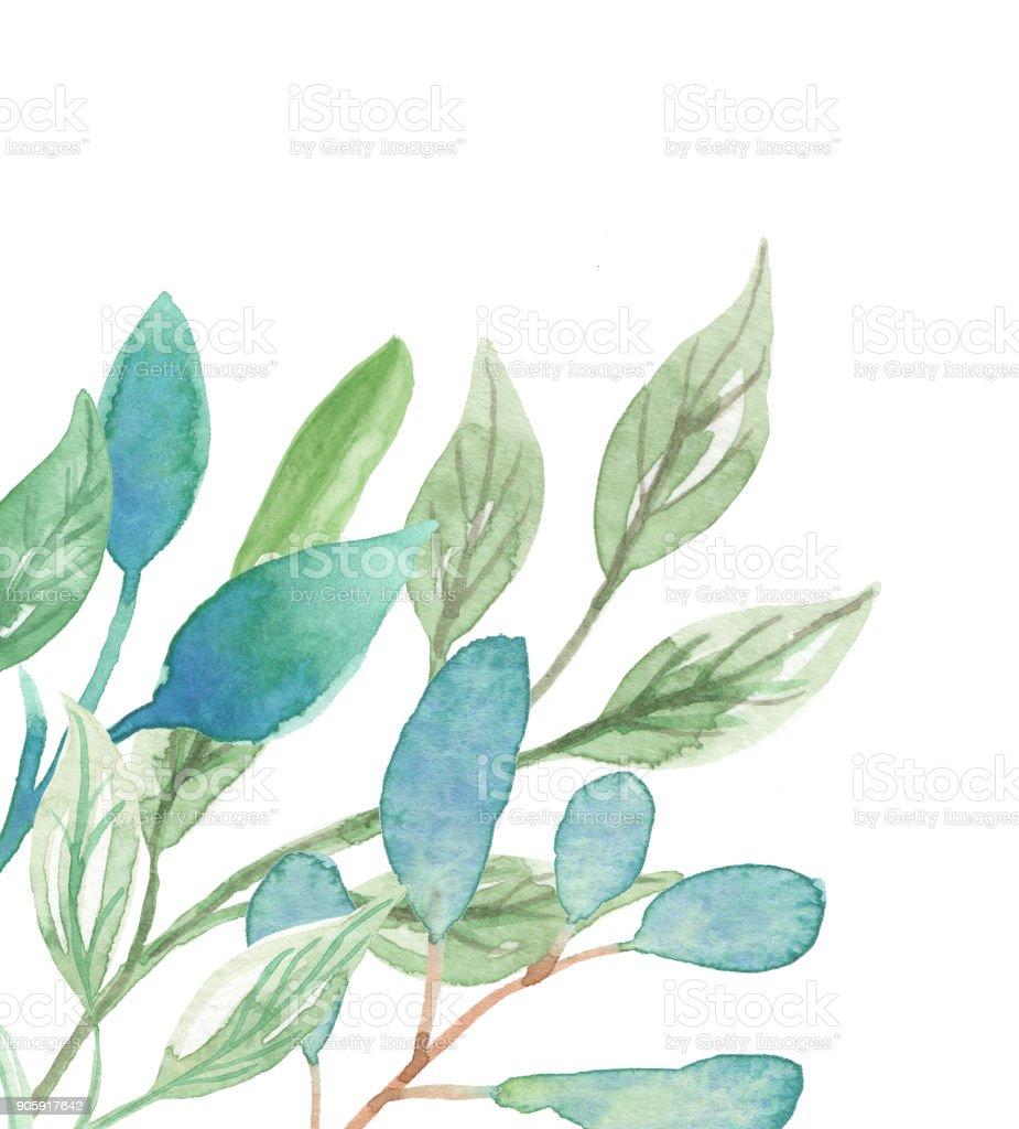 0f65a602df75 Leaves Watercolor Corner Leaf Frames Pretty Greenery Foliage royalty-free  leaves watercolor corner leaf frames